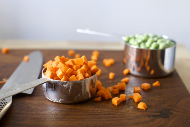 diced carrots + frozen peas