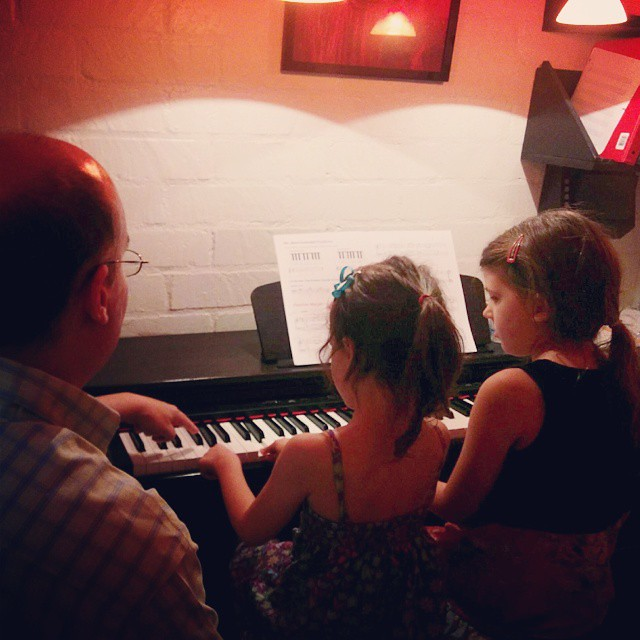 "It was ""Bring A Friend Night"" at the piano studio, so Annika brought Blythe to her lesson..."