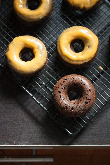 Baked Chocolate Donuts with Pumpkin-Bourbon Glaze