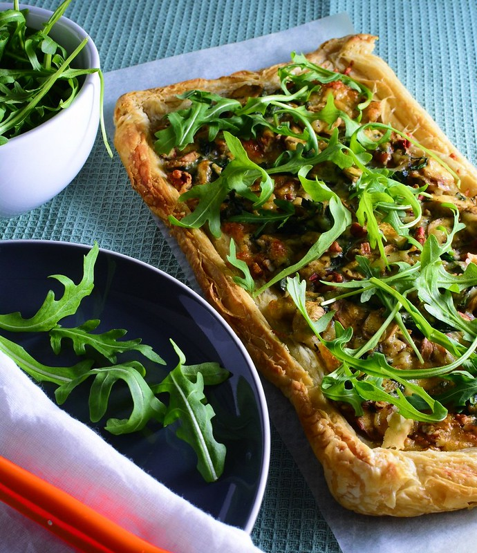 Puff Pastry Tart with Mushrooms, Spinach, Mozarella and Walnuts