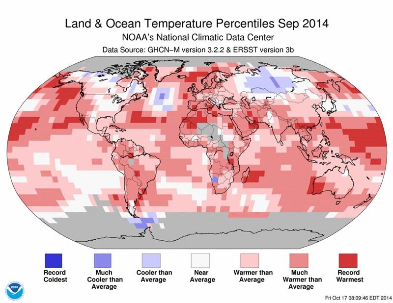 NOAA September 2014 Record Warmth