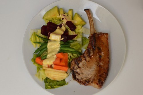 Pork chops and Pardo's-style salad