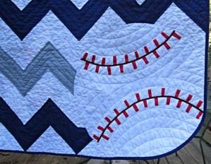 Chevron Baseball Baby Quilt - Baseball Detail