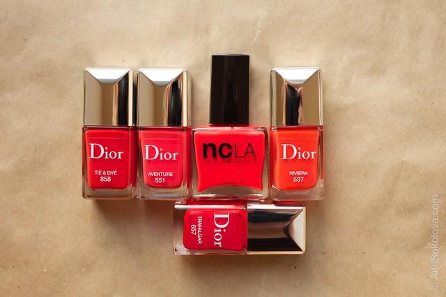 14 NCLA I'm With The Band comparison with Dior 858 Tie&Dye, Dior 551 Aventure, Dior 537 Riviera, Dior 657 Trafalgar