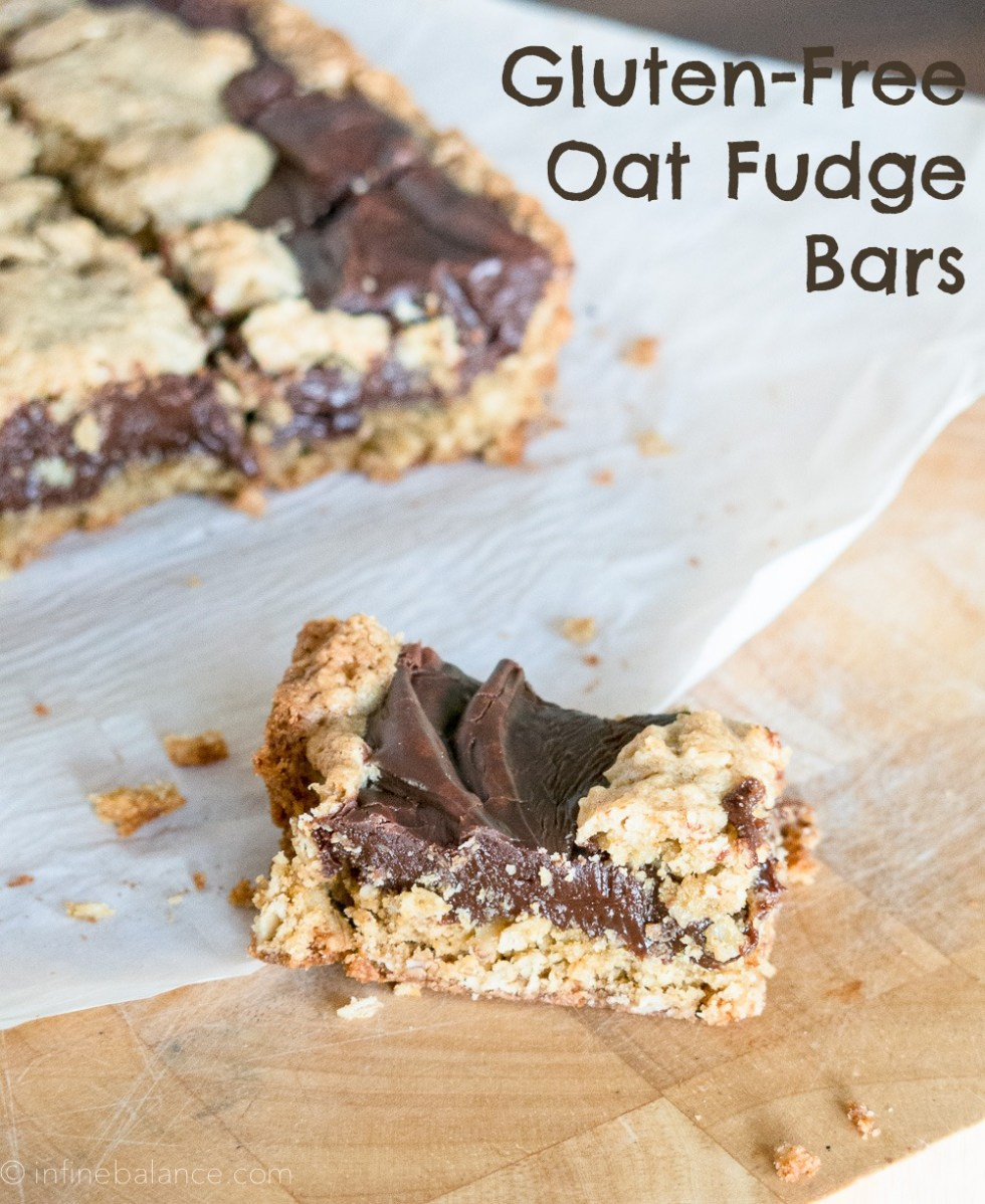 chocolate oat bars on a cutting board
