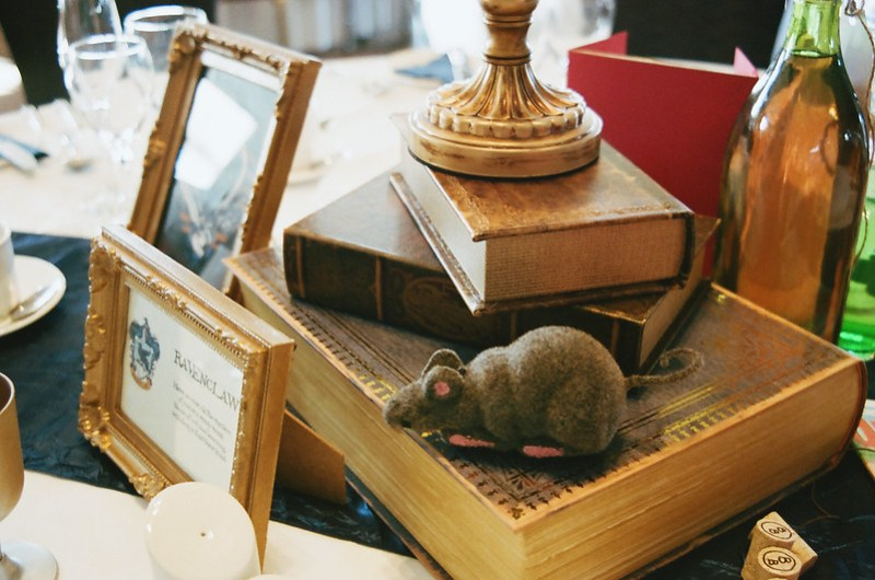 Ravenclaw table at this Scottish Harry Potter wedding on @offbeatbride