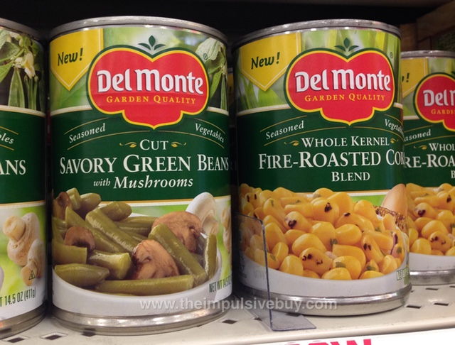 Del Monte Cut Savory Green Beans with Mushrooms and Whole Kernel Fire-Roasted Corn Blend