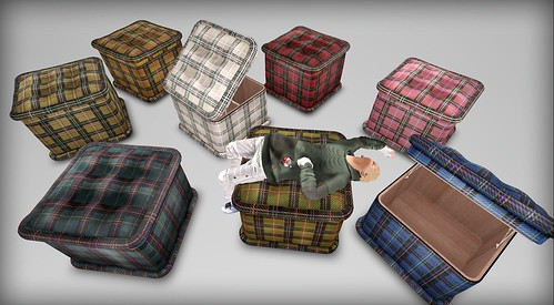 [HD]BOX STOOL -TARTAN regular color(TEXTURE change )