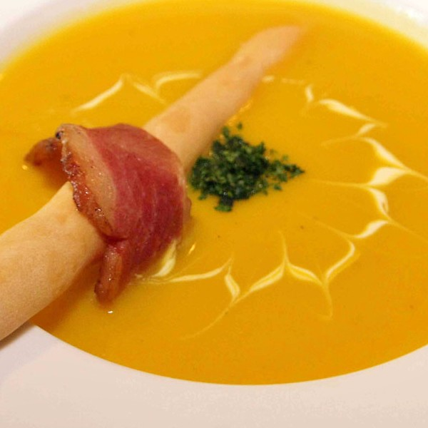 Roast calabaza and carrot soup