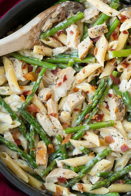 creamy chicken & asparagus pasta