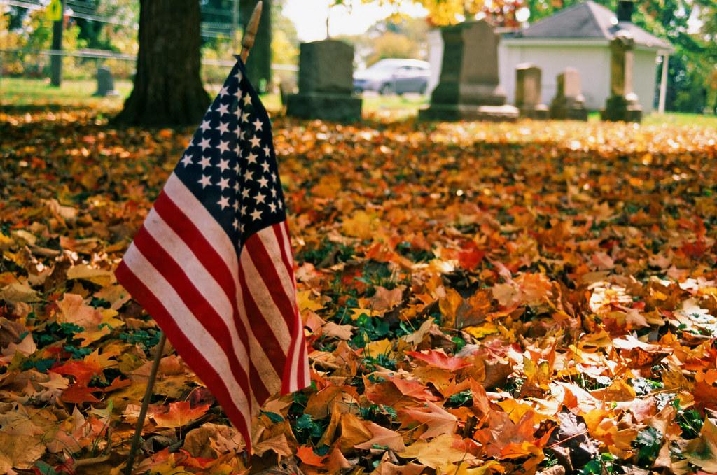 Little flag among the fallen leaves
