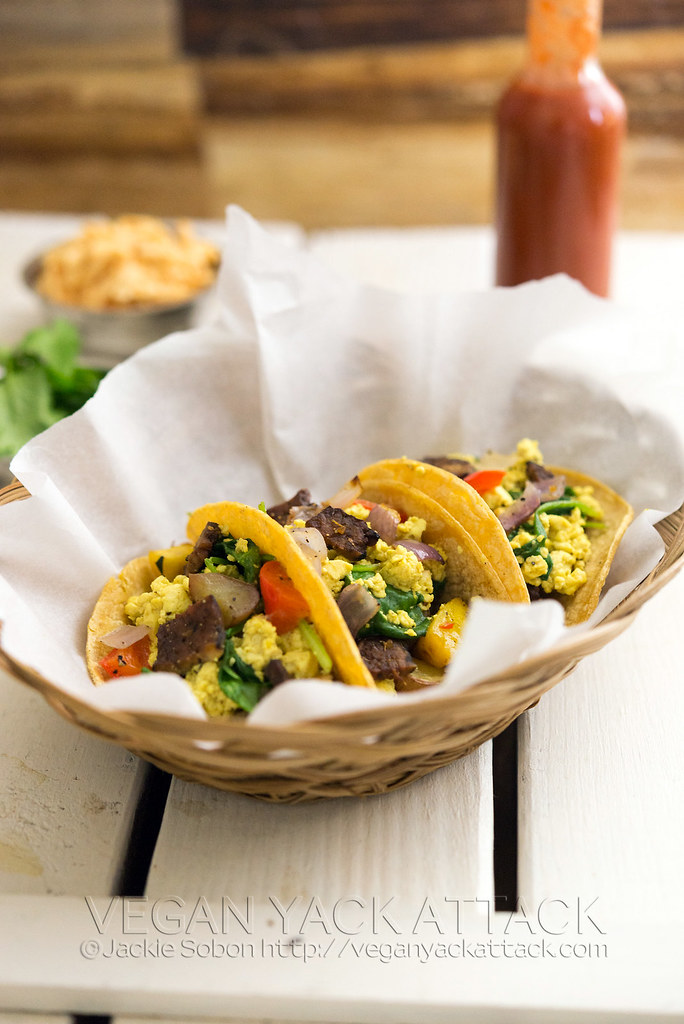 TheseSquash & Scramble Breakfast Tacos make for a delicious start to the day. High in protein, tasty, and easy-to-make! #vegan #glutenfree