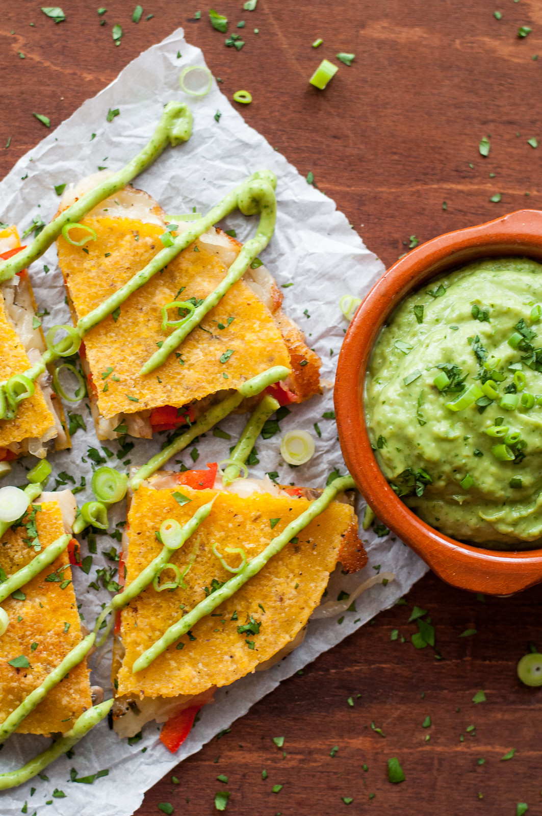 Meatless steakhouse quesadillas and tangy avocado dip | recipe at Natural Comfort Kitchen | #meatless #glutenfree