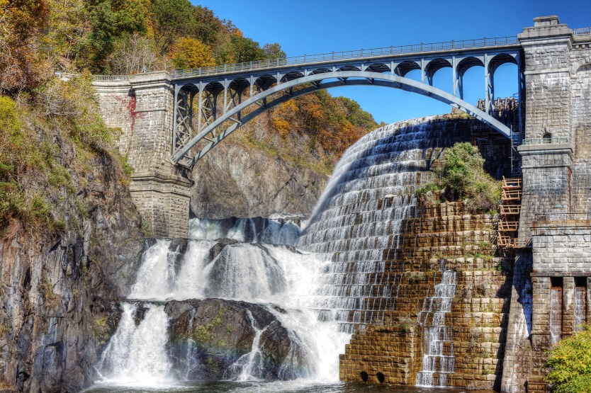 The spillway water fall at the Croton Dam.