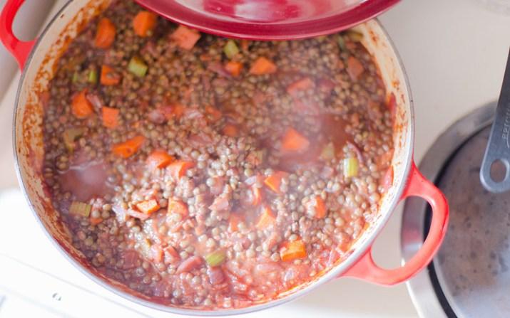 Wine Glazed Lentils and Vegetables