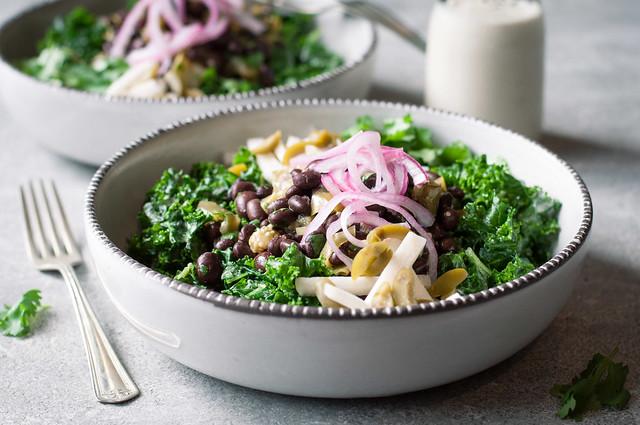 Healthy Mexican kale salad