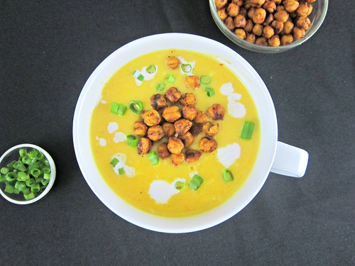 Smoked Gruyere Butternut Soup with Spicy Roasted Chickpeas