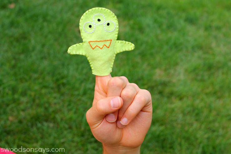 green monster finger puppet