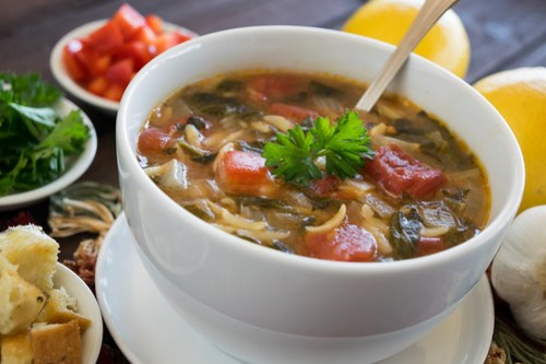 a hot bowl of greek spinach and orzo soup