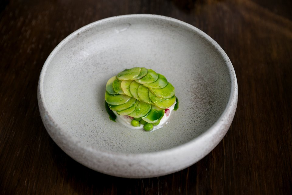 New potatoes, almonds, peas, mint, burnt lemon at Amass, Copenhagen