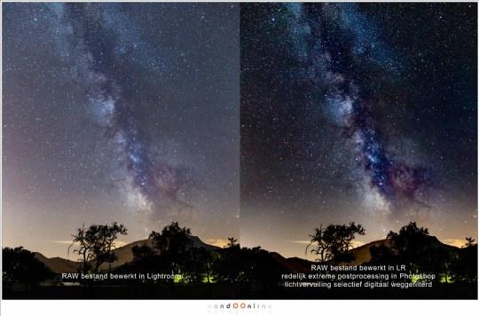 Extreme post-processing in Photoshop maakt de foto indrukwekkend. Zo zullen we de Melkweg in Nederland nooit kunnen zien.