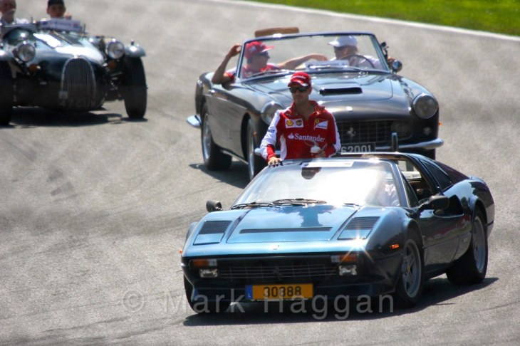 Sebastian Vettel in the drivers' parade at the 2015 Belgium Grand Prix