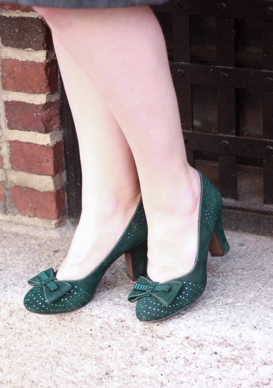 Miss L Fire Gabrielle pumps in green from Royal Vintage Shoes