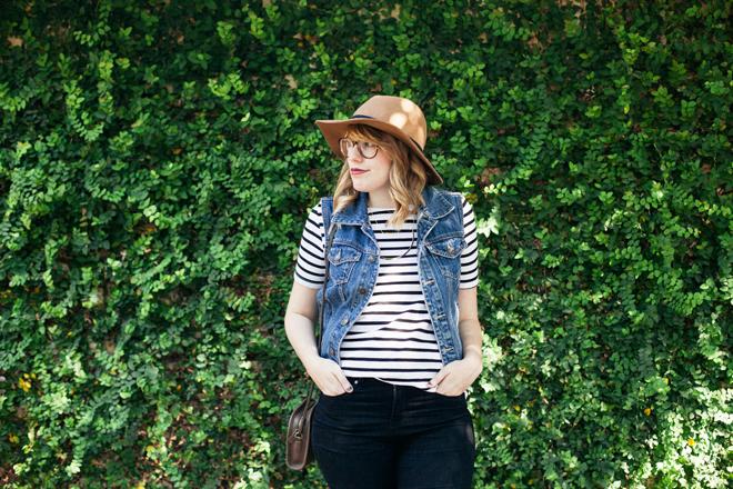 striped shirt denim vest1