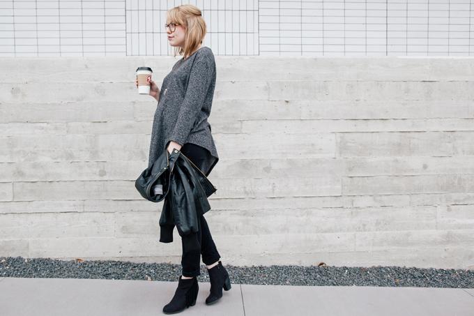 asymmetrical sweater leather jacket5
