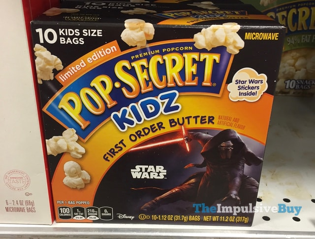 Limited Edition Pop Secret Kidz Star Wars First Order Butter Popcorn