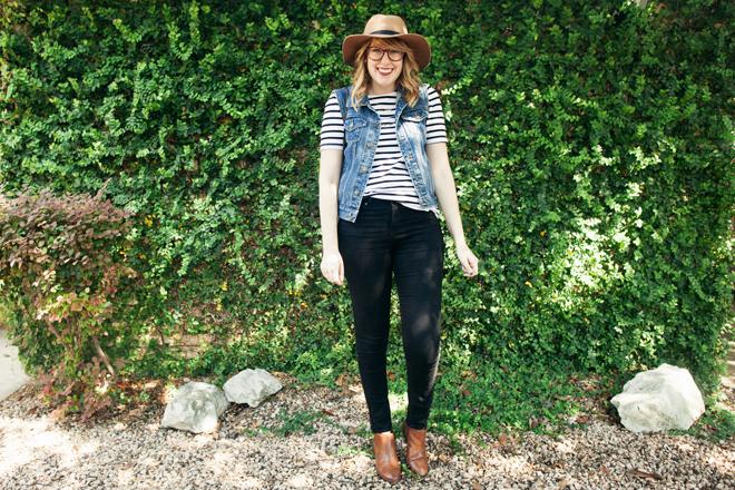 striped shirt denim vest4