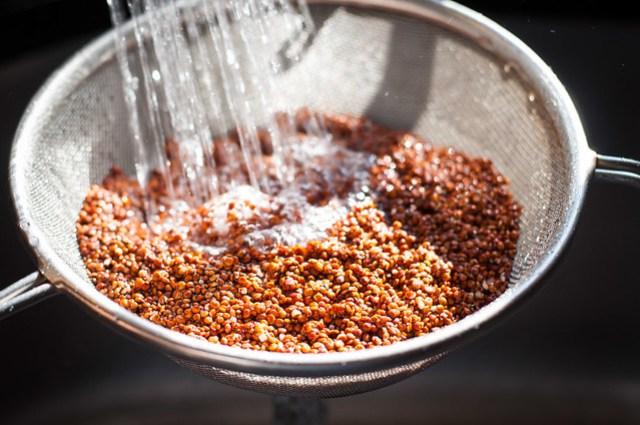 Quinoa prep for spicy Italian broccoli bowls