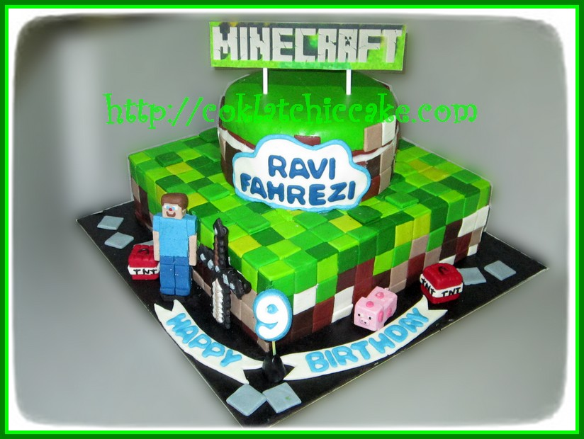 cake minecraft ravi jual kue ulang tahun