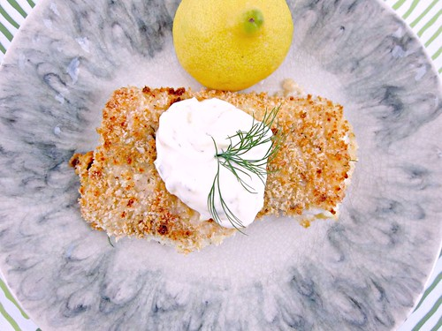 Crispy Cod with Lemon Dill Sauce