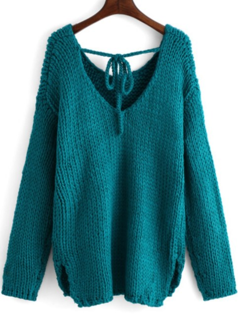 Winter is Coming: SheIn's Blue Long Sleeve Backless Loose Sweater