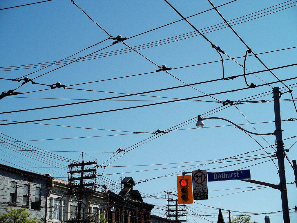 hight resolution of overhead ttc streetcar wires
