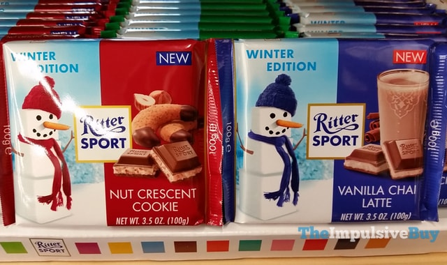 Ritter Sport Winter Edition Nut Crescent Cookie and Vanilla Chai Latte