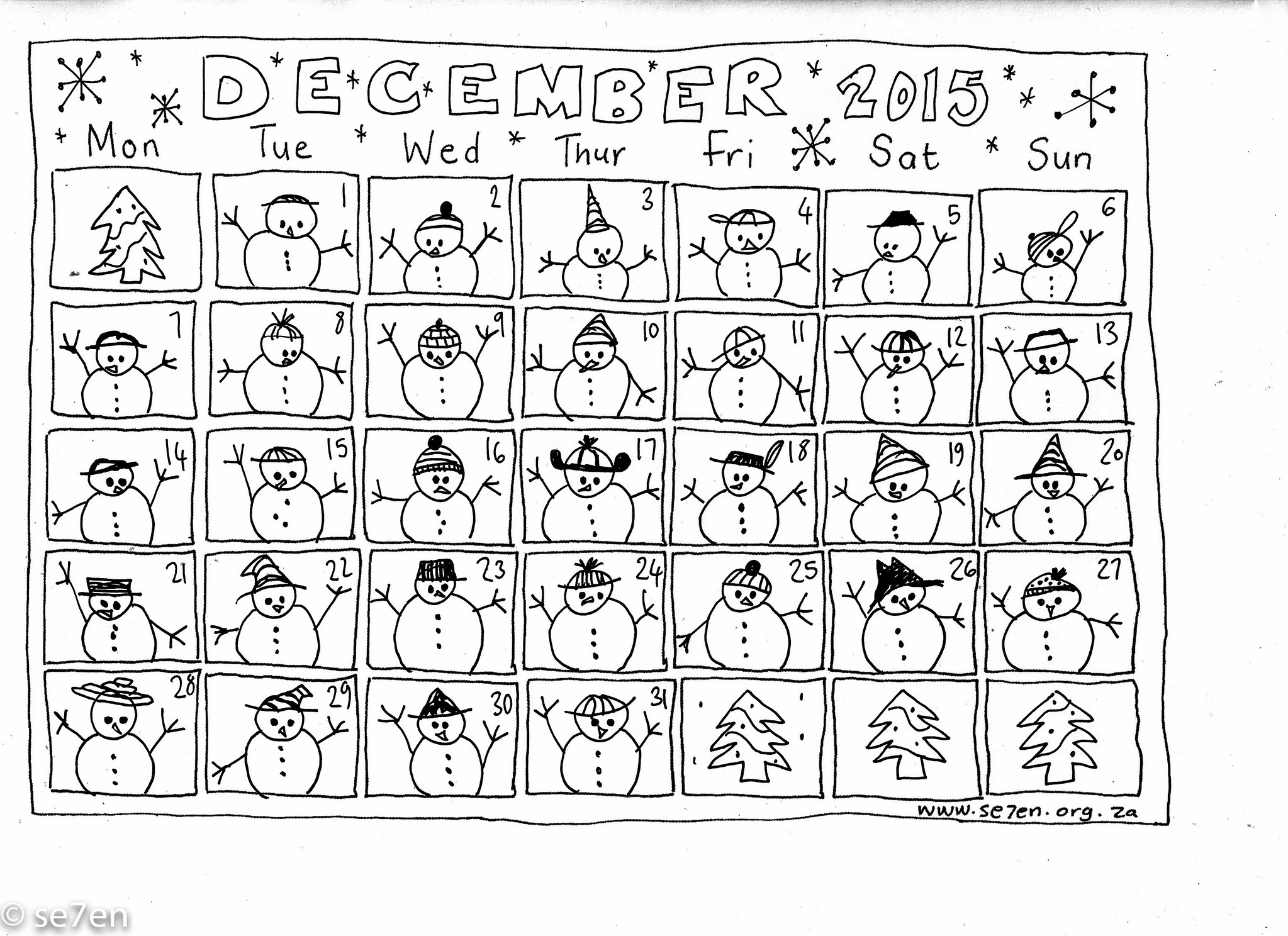 Se7en S December And Your Free Printable Calendar Se7en