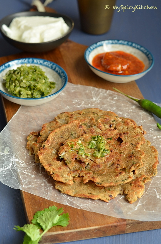 Thalipeeth, Savory pancake, Maharashtrian Food, Maharashtrian Cuisine, Blogging Marathon, Indian Food, Buffet on Table