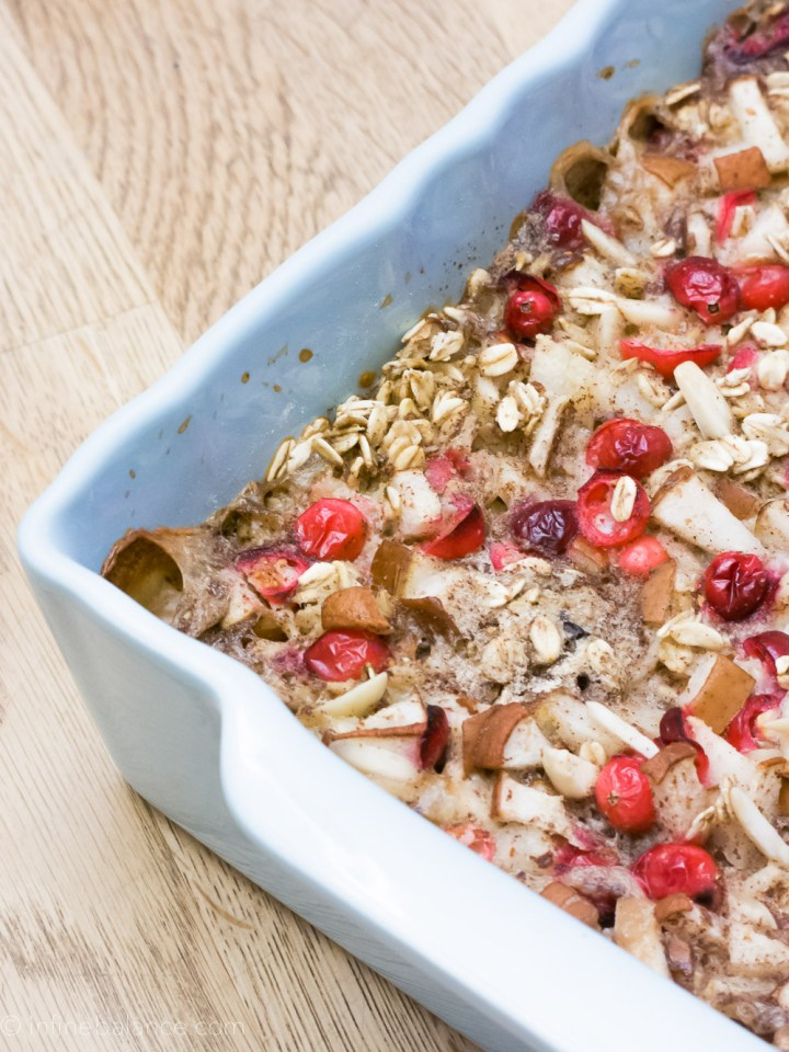 Cranberry and Pear Baked Oatmeal   www.infinebalance.com #recipe #breakfast