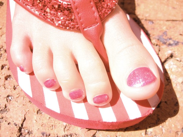 Foot with painted toenail
