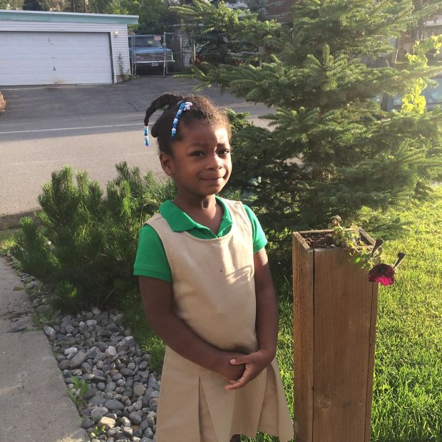 first day of #school, pre-k. so begins our first foray into full days every day. she was excited and jumped right in. she also looks sweet in her #uniform.