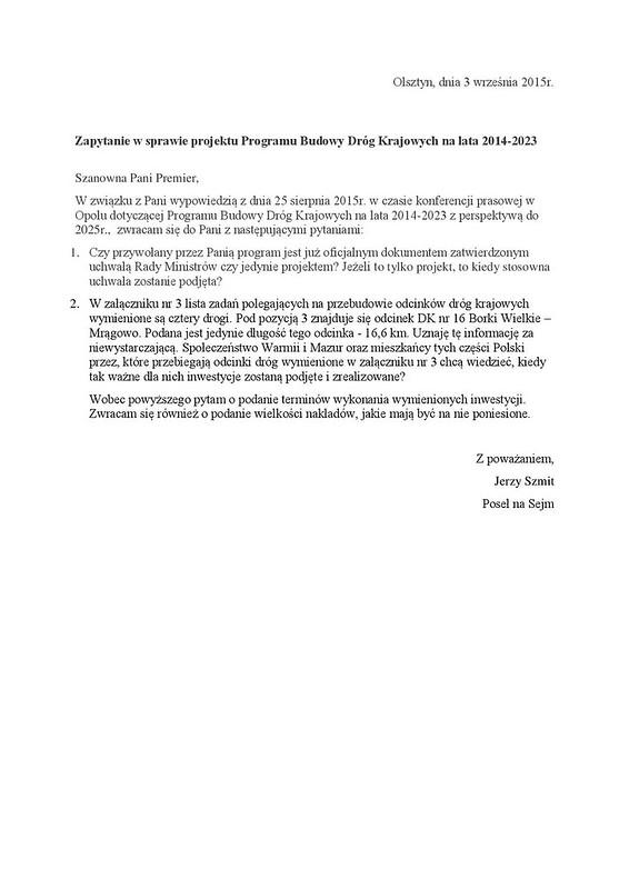 Zapytanie wsprawie projektu Programu Budowy Dróg Krajowych nalata 2014-page-001