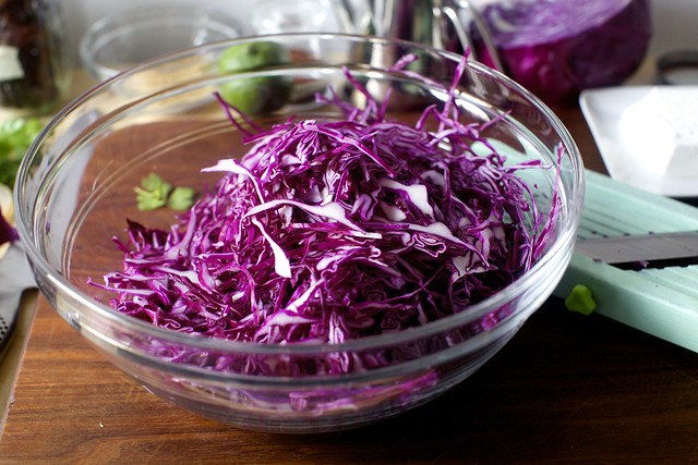 very thinly sliced red cabbage