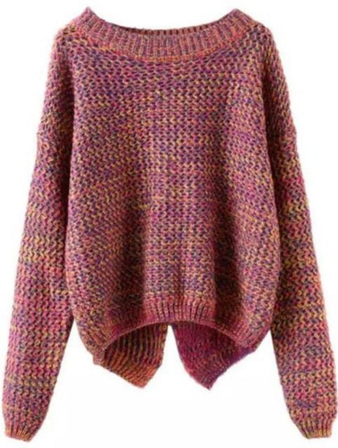 Winter is Coming: SheIn's Long Sleeve Slit Back Purple Sweater