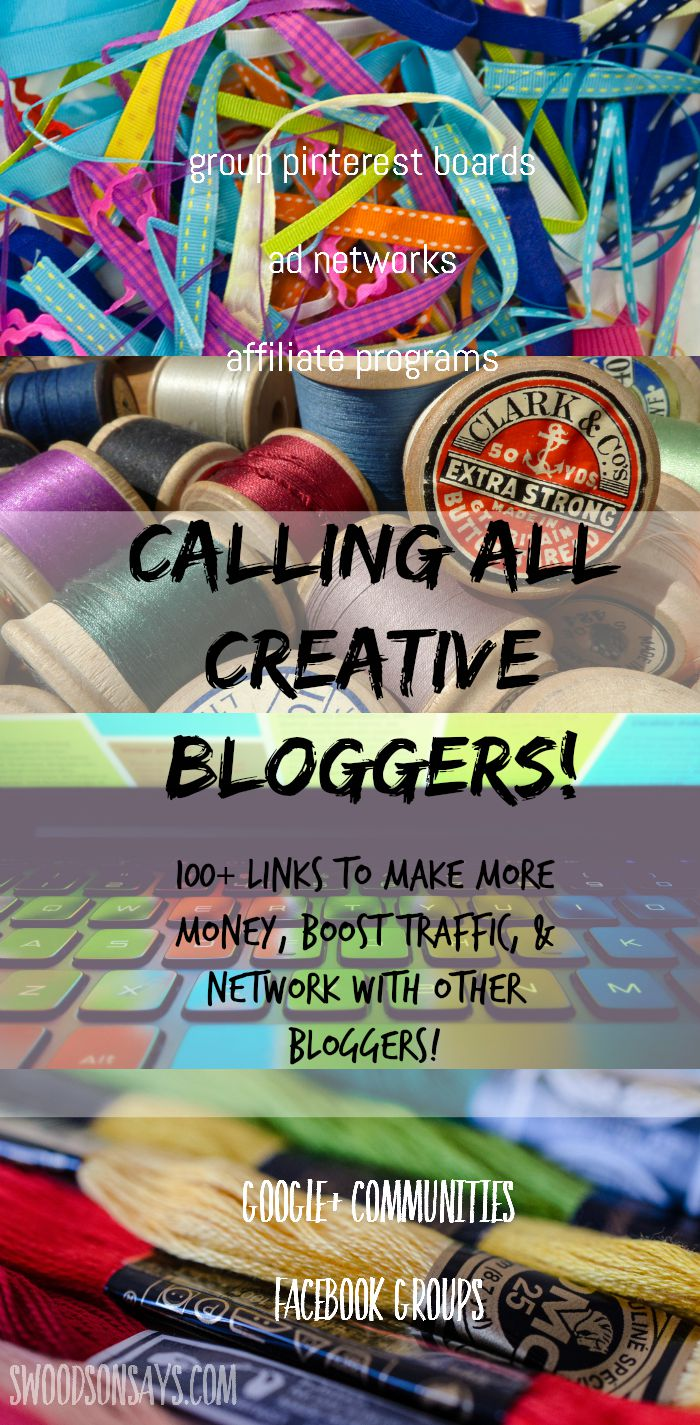 Creative bloggers! A round-up resource list of over 100 links for networking, increased traffic, and increased profits. Facebook groups, pinterest group boards, g+ communities, etc.