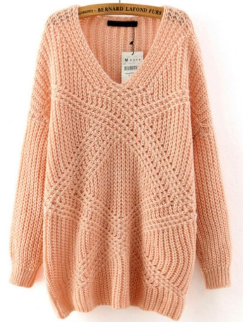 Winter is Coming: SheIn's Pink V Neck Mohair Loose Sweater