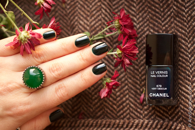 12 Chanel #679 Vert Obscur 2 coats swatches by Ann Sokolova