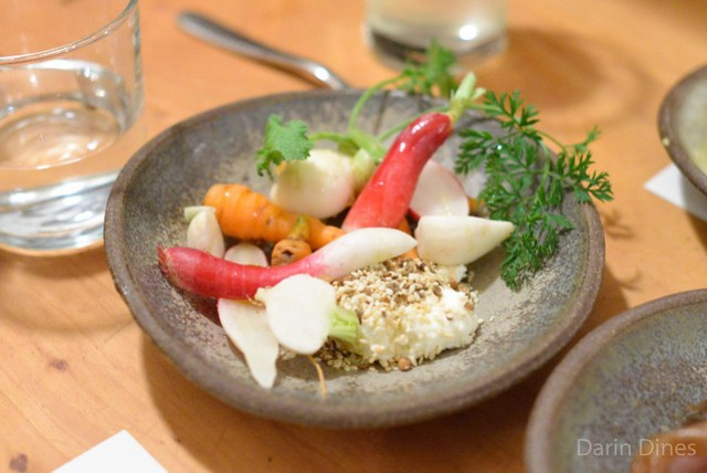 crudite with goat cheese and toasted sesame spice