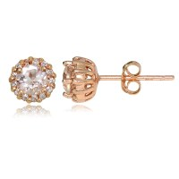 18K Rose Gold Plated Sterling Silver Morganite 4mm Halo ...